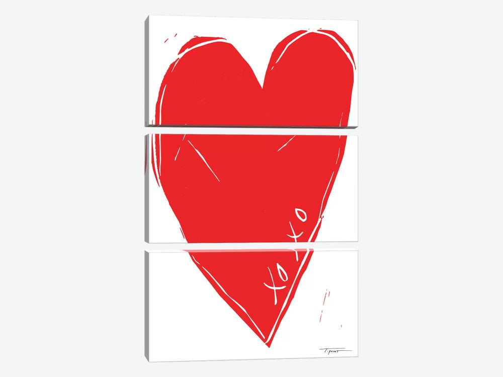 XOXO Heart 3-piece Canvas Wall Art