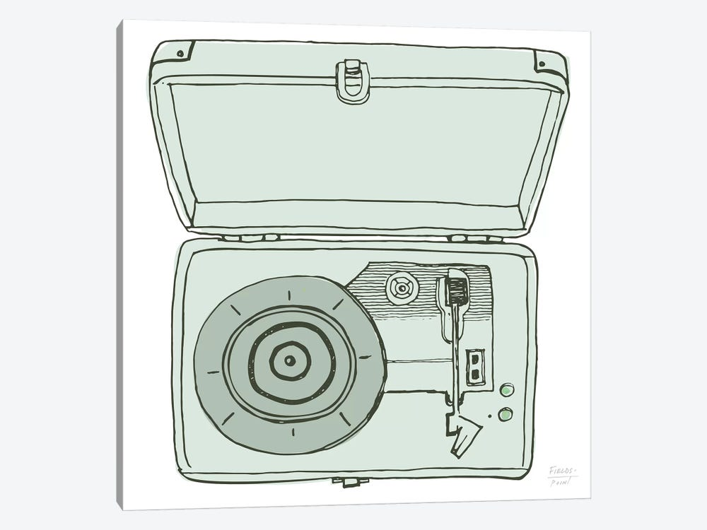 Vintage Record Player by Statement Goods 1-piece Canvas Wall Art