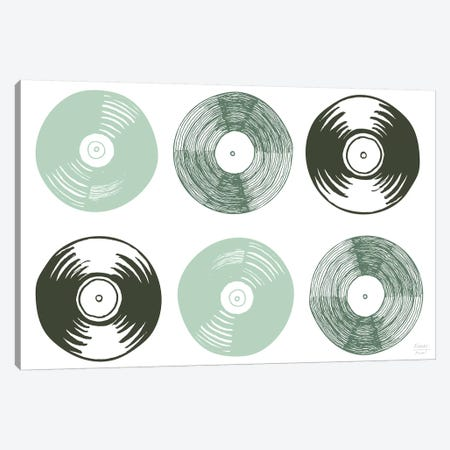 Six Vinyl Records Canvas Print #SGD91} by Statement Goods Canvas Print