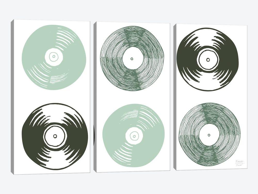 Six Vinyl Records by Statement Goods 3-piece Art Print
