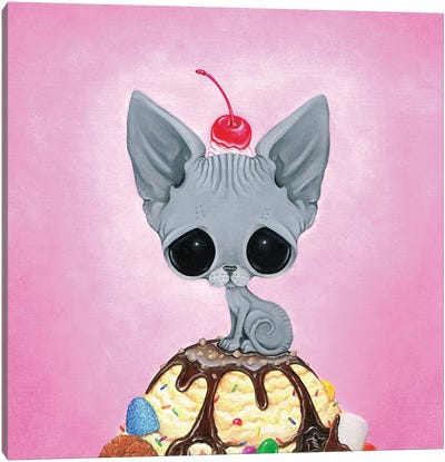 Kitty Please With A Cherry On Top Canvas Art Print