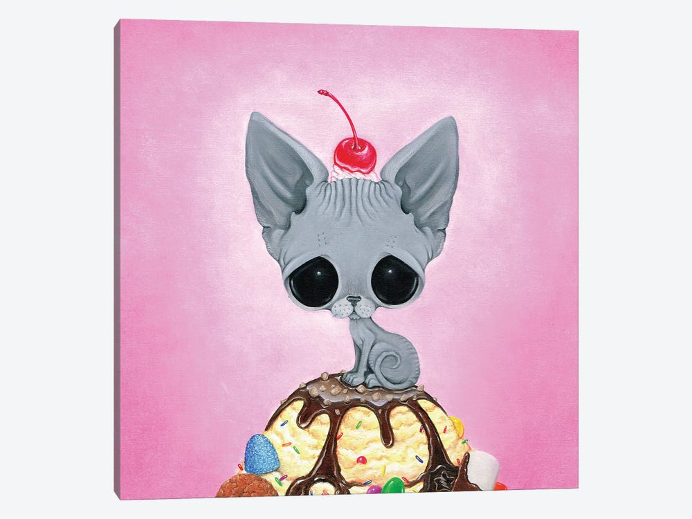 Kitty Please With A Cherry On Top by Sugar Fueled 1-piece Canvas Art