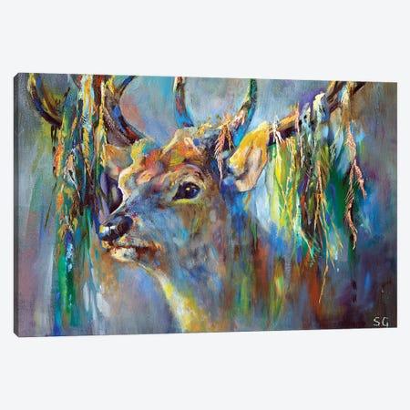 Silver Stag Canvas Print #SGN21} by Sue Gardner Canvas Artwork