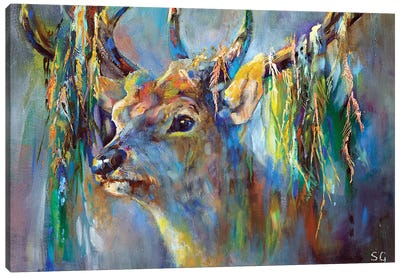 Silver Stag Canvas Art Print