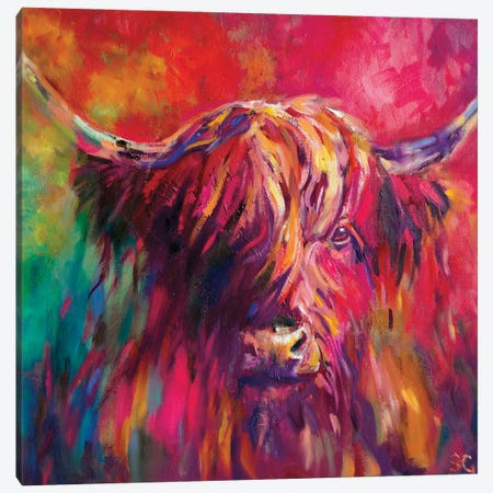 Rainbow Cow Canvas Print #SGN2} by Sue Gardner Art Print