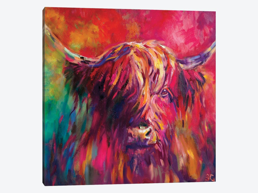 Rainbow Cow by Sue Gardner 1-piece Canvas Artwork