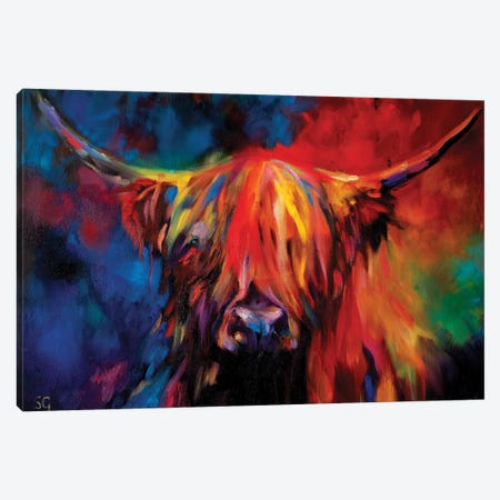 Highland Cow Canvas Print #SGN52} by Sue Gardner Canvas Art Print