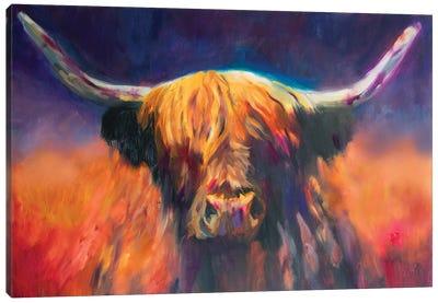 Sunset Highland Cow Canvas Art Print