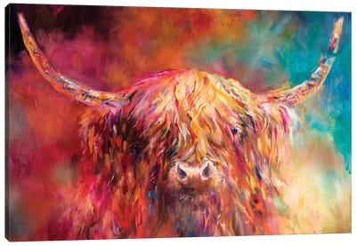 Misty Highland Cow Canvas Art Print