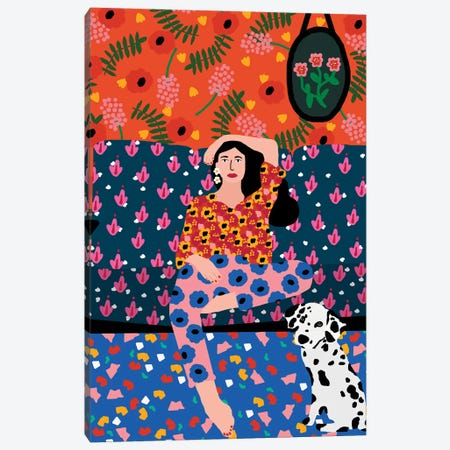 Girl In The Sofa Canvas Print #SGP12} by Studio Grand-Père Canvas Print