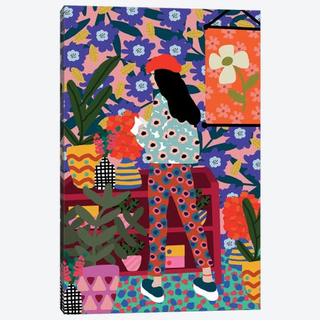 Happy French Girl Canvas Print #SGP14} by Studio Grand-Père Canvas Artwork