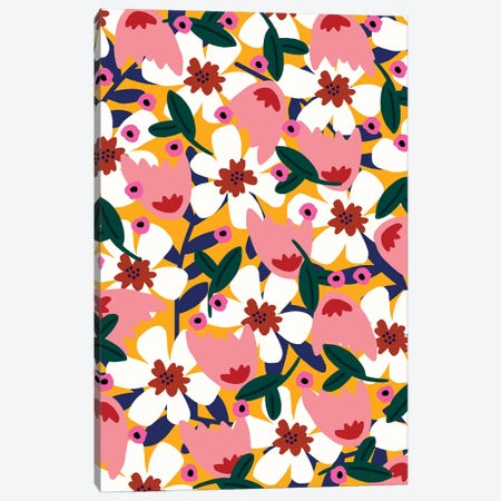 Let'S Be Happier Floral Canvas Print #SGP20} by Studio Grand-Père Canvas Wall Art