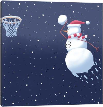 Dunking Snowman Canvas Art Print