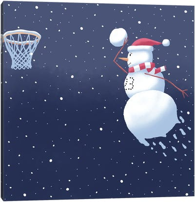 Dunking Snowman Canvas Art Print