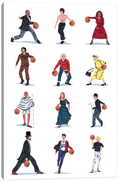 Everybody Plays Baketball Canvas Art Print