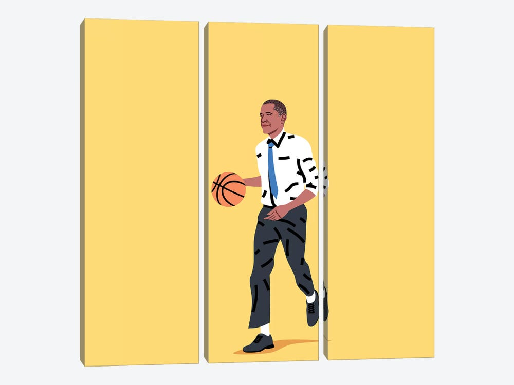 Balling Barack by Elad Shagrir 3-piece Canvas Print