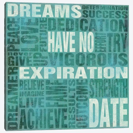 Dreams Have No Expiration Date Canvas Print #SGS102} by Sd Graphics Studio Canvas Wall Art