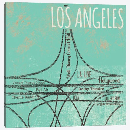 LA Roads Canvas Print #SGS110} by Sd Graphics Studio Art Print