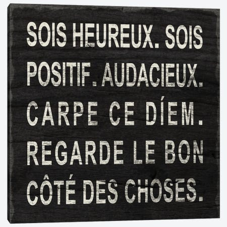 Think Happy (French) Canvas Print #SGS136} by Sd Graphics Studio Canvas Art