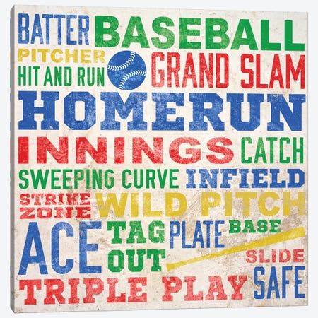 Colorful Baseball Typography Canvas Print #SGS14} by Sd Graphics Studio Art Print