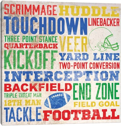 Colorful Football Typography Canvas Art Print