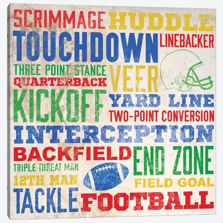 Colorful Football Typography Canvas Print #SGS15} by Sd Graphics Studio Canvas Print