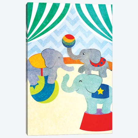 Elephants and Seals Center Stage I Canvas Print #SGS2} by Sd Graphics Studio Art Print