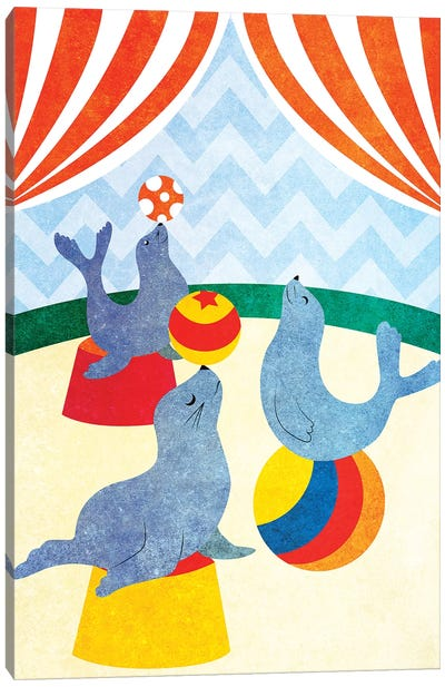 Elephants and Seals Center Stage II Canvas Art Print