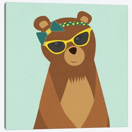Hipster Bear I Canvas Print #SGS4} by Sd Graphics Studio Canvas Artwork