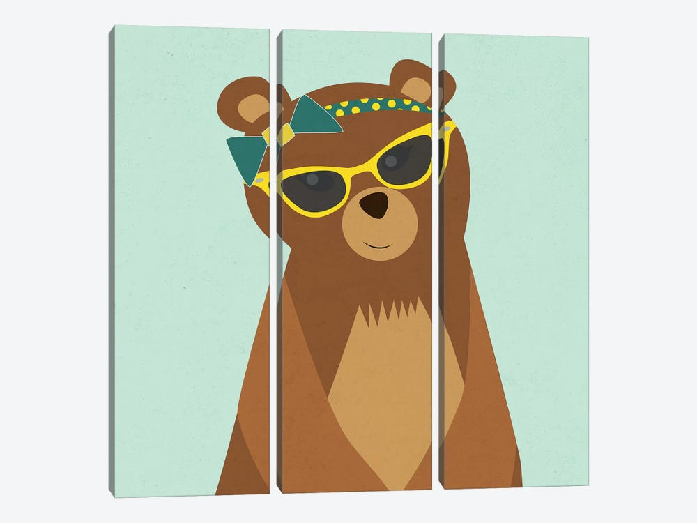Hipster Bear I by Sd Graphics Studio 3-piece Canvas Print