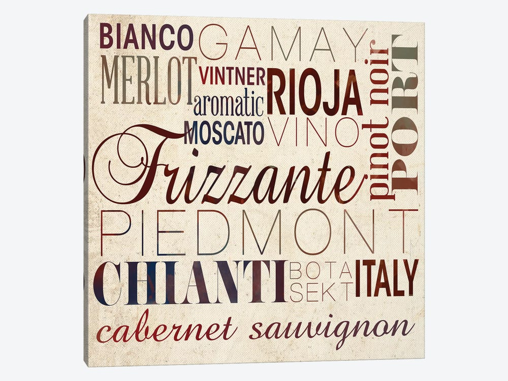 Wine Words I by Sd Graphics Studio 1-piece Canvas Artwork