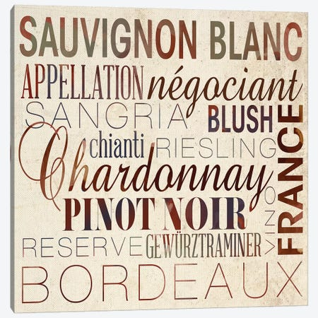 Wine Words II Canvas Print #SGS51} by Sd Graphics Studio Canvas Artwork