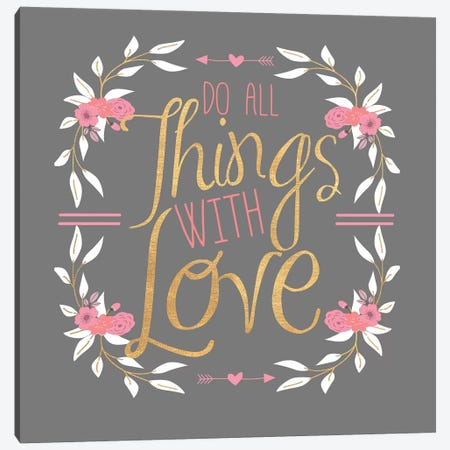 Do All Things With Gold (Grey) Canvas Print #SGS58} by Sd Graphics Studio Canvas Wall Art