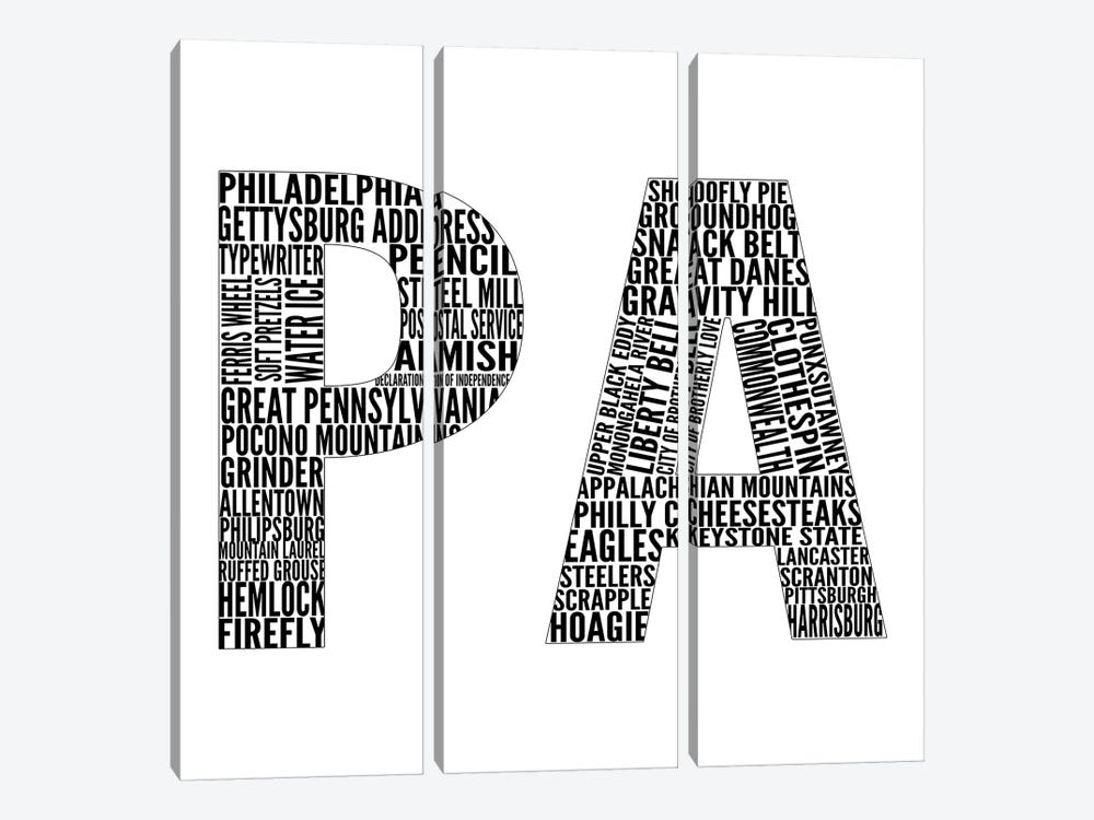 PA Type by Sd Graphics Studio 3-piece Canvas Art