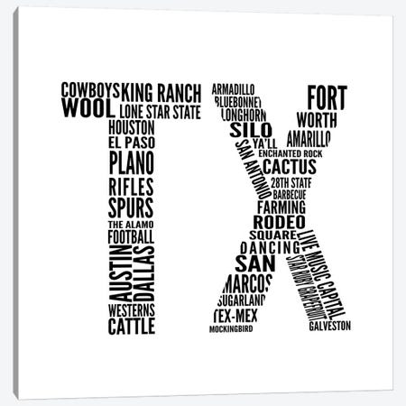 TX Type Canvas Print #SGS68} by Sd Graphics Studio Art Print