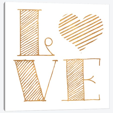 Love Heart Gold Canvas Print #SGS7} by Sd Graphics Studio Canvas Art