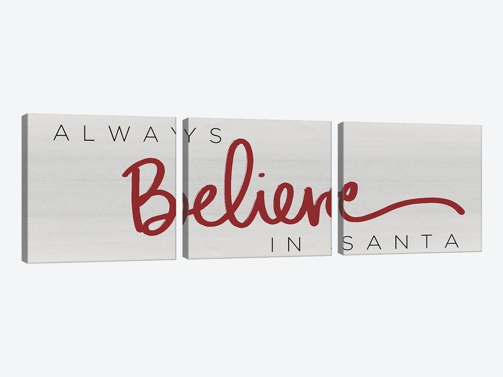 Believe in Santa Red by Sd Graphics Studio 3-piece Canvas Art