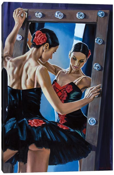 Black Swan In The Mirror Canvas Art Print