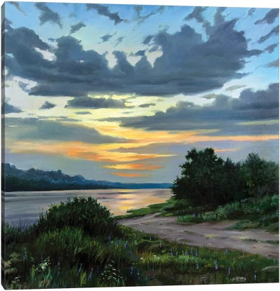 Sunset On The River Canvas Art Print