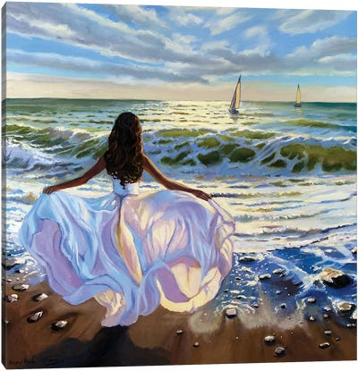 Against The Sea Wind Canvas Art Print