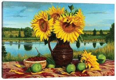 Still Life With Sunflowers Canvas Art Print
