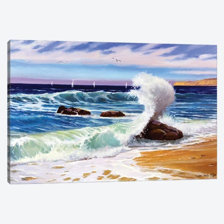 Sunny Seascape With Waves Canvas Print #SGT39} by Serghei Ghetiu Canvas Art Print
