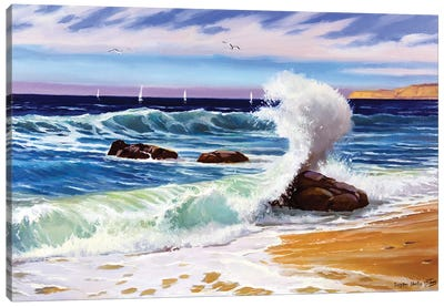 Sunny Seascape With Waves Canvas Art Print
