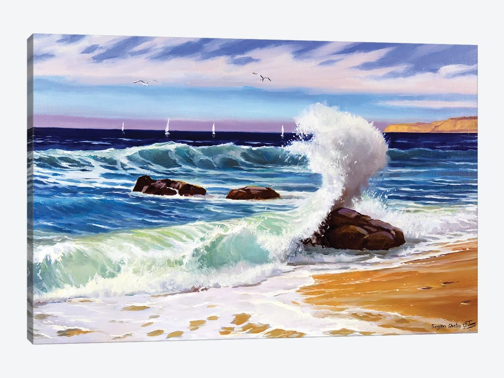 Sunny Seascape With Waves by Serghei Ghetiu 1-piece Canvas Wall Art