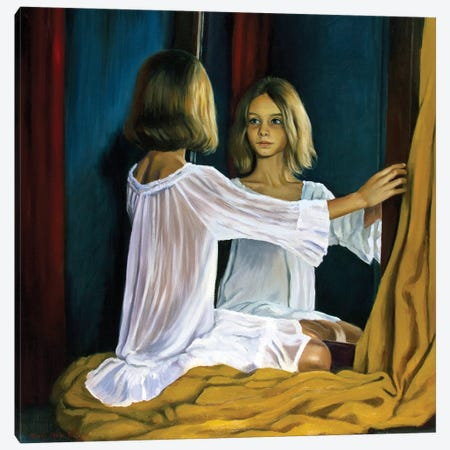 A Girl In The Mirror Canvas Print #SGT3} by Serghei Ghetiu Canvas Artwork
