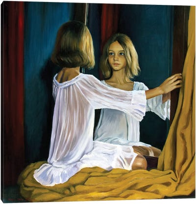 A Girl In The Mirror Canvas Art Print