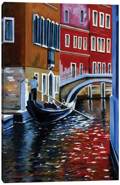 The Busy Day In Venice Canvas Art Print