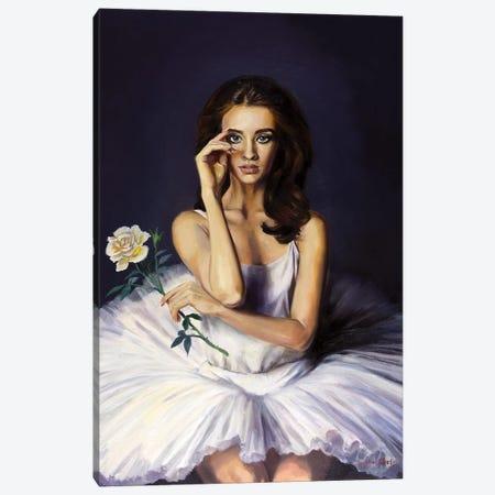 Ballerina Portrait With A White Rose Canvas Print #SGT49} by Serghei Ghetiu Canvas Art