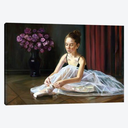 Ballerina, Preparing For Classes Canvas Print #SGT6} by Serghei Ghetiu Canvas Art Print