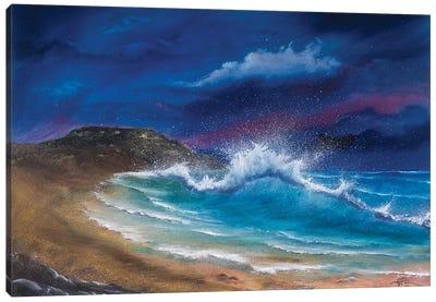 Late Surf At Hengistbury Canvas Art Print